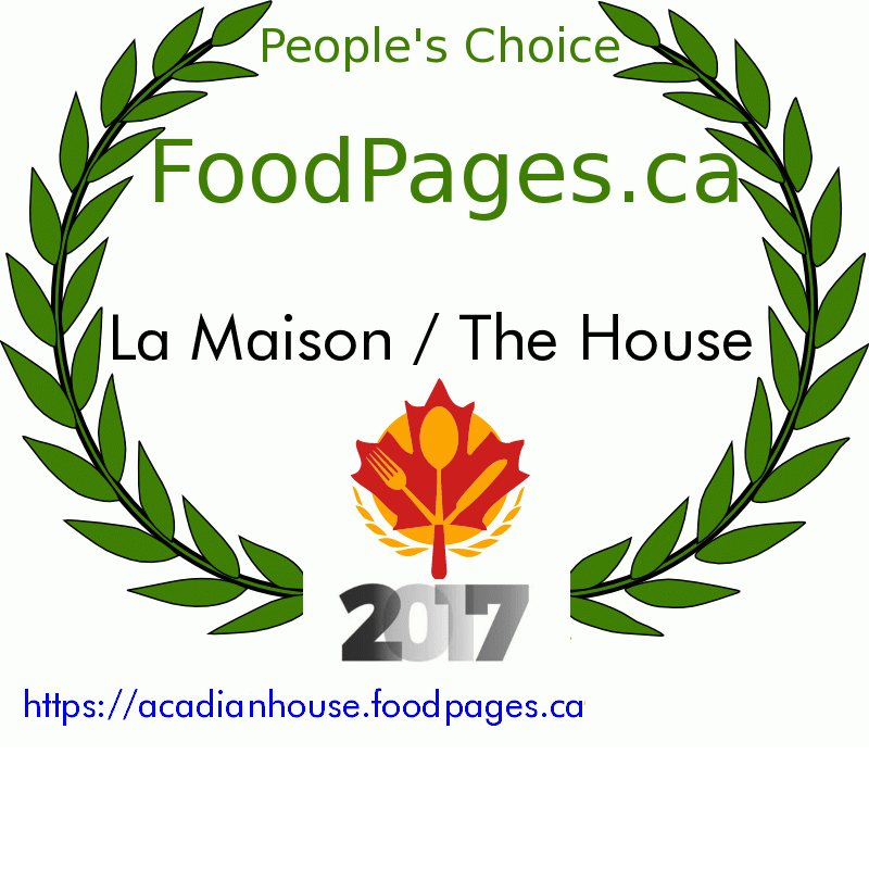 La Maison / The House FoodPages.ca 2017 Award Winner
